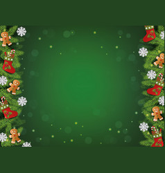 green christmas background with realistic tree vector image