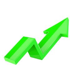 Green indication arrow up rising financial sign vector