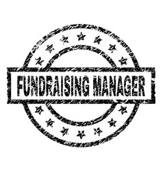 Grunge textured fundraising manager stamp seal vector