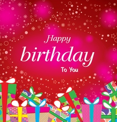 Happy birthday with colorful gift on red vector