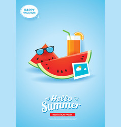 hello summer card banner with watermelon and vector image