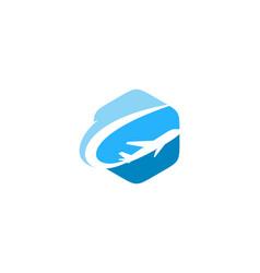 hexagon travel logo icon design vector image