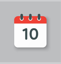 Icon calendar day number 10 10th day month vector