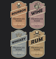 labels for various alcoholic drinks in retro style vector image