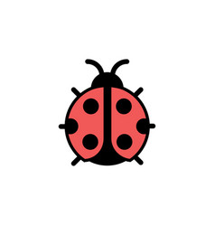 Ladybug filled color icon animal vector