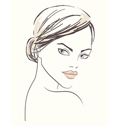 line of a beautiful woman face vector image