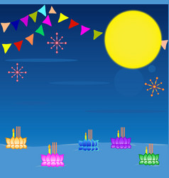 loy kratong festival background vector image