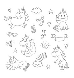 Magical doodles with unicorn clouds cupcake vector
