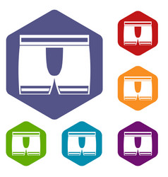 man boxer briefs icons set hexagon vector image