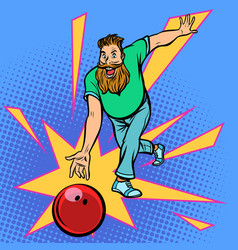 man throws bowling ball vector image
