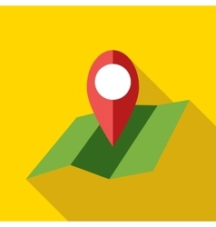 Map with pin pointer icon flat style vector image