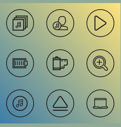 Media icons line style set with albums artist vector