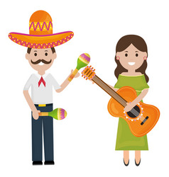 mexicans couple with mariachi hat and instruments vector image