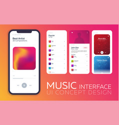 Mobile ui design concept music player interface vector