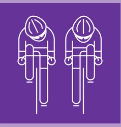 Modern of cyclists from front view vector