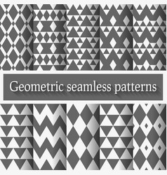 Monochrome geometric seamless patterns set vector