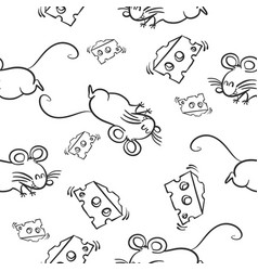 mouse and cheese pattern style vector image