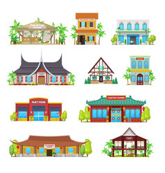 national cuisine restaurants buildings set vector image