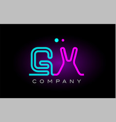 neon lights alphabet gx g x letter logo icon vector image