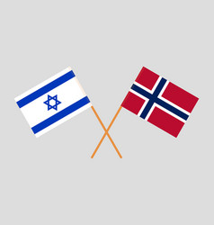 Norway and israel flags vector