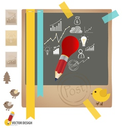 Note papers with drawing chart and graphs vector image