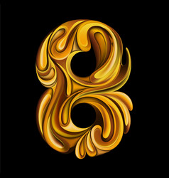 number 8 in style liquid gold vector image