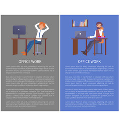 office work poster mae resting at workplace vector image