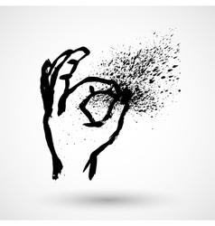 OK hand grunge sign vector