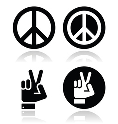 Peace hand gesture icons set vector