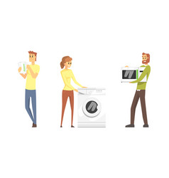 people buying various household appliances set vector image