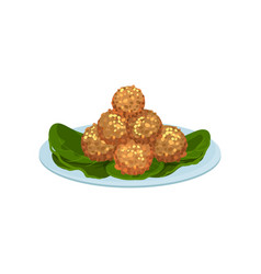 Plate with fried meat balls delicious snacks vector