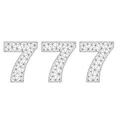 Polygonal carcass 777 text caption vector