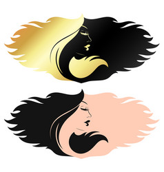 profile a girl with curls hair vector image