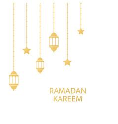 ramadan kareem greeting card frame golden fanoos vector image