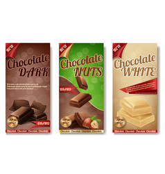 realistic collection of chocolate packaging vector image