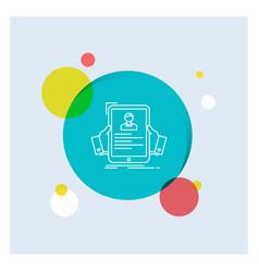 resume employee hiring hr profile white line icon vector image