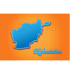 Retro map afghanistan with halftone background vector