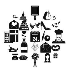 romantic entertainment icons set simple style vector image