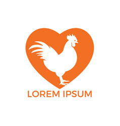 rooster heart shape logo design vector image