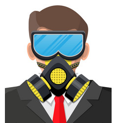 safety mask on person face protective respirator vector image