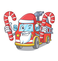 Santa with candy fire truck mascot cartoon vector