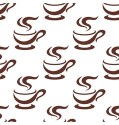 Seamless steaming cappuccino cups pattern vector image