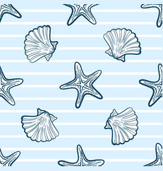 Seashells and starfishes seamless pattern vector