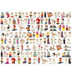 Set different muslim people cartoon character vector