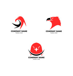 set eagle logo template vector image
