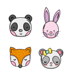 Set of cute animals cartoons vector