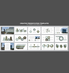 Set of green and gray elements for multipurpose vector