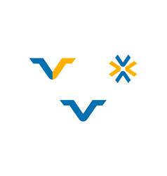 set of initial letter v logo template design vector image