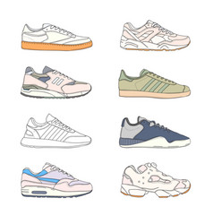 Set of modern sneakers sports shoes collection vector