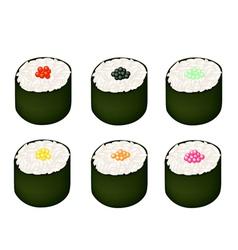 Set of Tobiko Roe Sushi on White Background vector image vector image